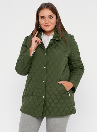Green - Fully Lined - Crew neck -  - Plus Size Coat - BUTİK VEDAT