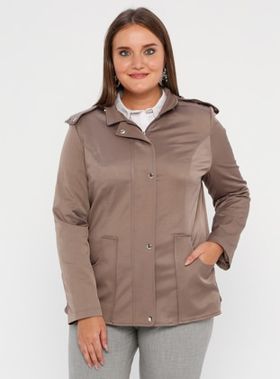 Mink - Fully Lined - Polo neck - Polyurethane - Plus Size Trench coat