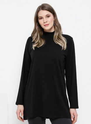 Black - Polo neck -  - Plus Size Tunic