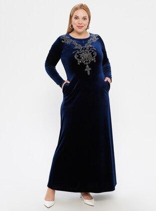 Navy Blue - Unlined - Crew neck -  - Plus Size Dress
