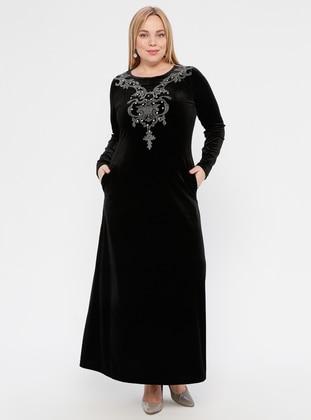 Black - Black - Unlined - Crew neck -  - Plus Size Dress