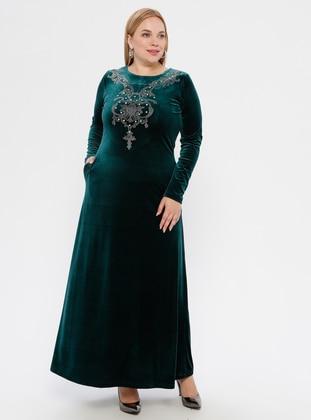 Green - Unlined - Crew neck -  - Plus Size Dress