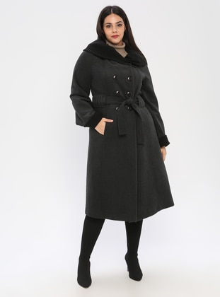 Gray - Fully Lined - Plus Size Overcoat - BUTİK VEDAT