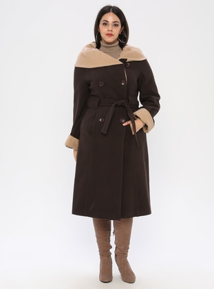 Brown - Fully Lined - Plus Size Coat - BUTİK VEDAT