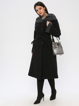 Black - Fully Lined - Plus Size Coat - BUTİK VEDAT