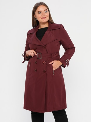 Maroon - Fully Lined - Shawl Collar - Polyurethane - Plus Size Trench coat