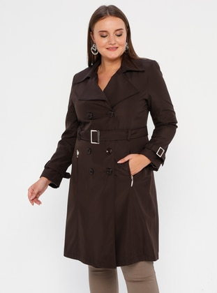 Brown - Fully Lined - Shawl Collar - Polyurethane - Plus Size Trench coat