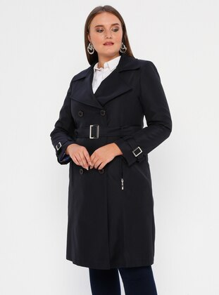 Navy Blue - Fully Lined - Shawl Collar - Polyurethane - Plus Size Trench coat