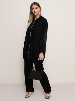 Black - Unlined - Viscose - Plus Size Suit