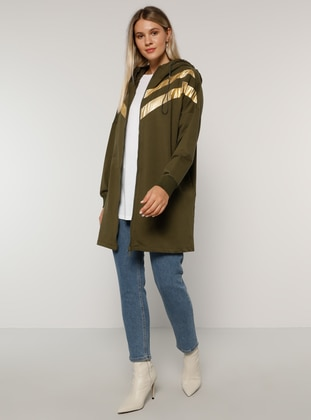 Gold - Khaki - Unlined - - Plus Size Overcoat