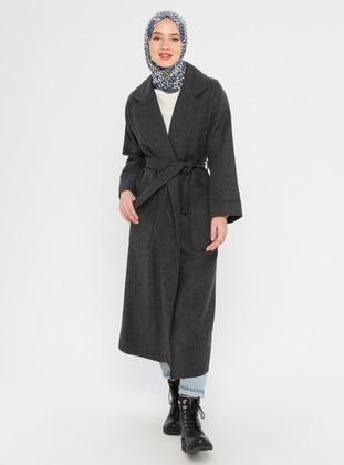 Gray - Unlined - V neck Collar - Acrylic -  - Coat - Miss Cazibe