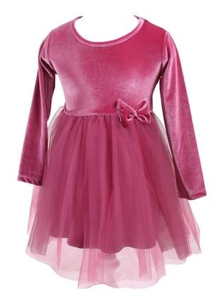 Crew neck - - Unlined - Pink - Girls` Dress