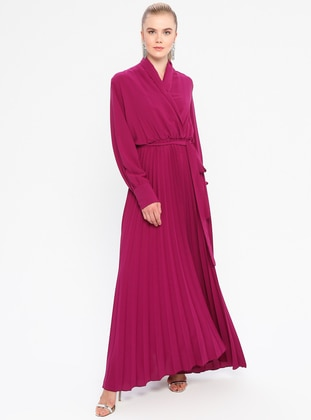 Fuchsia - V neck Collar - Fully Lined - Dress