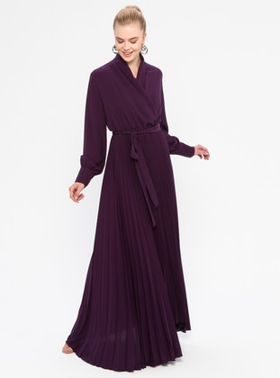 Purple - V neck Collar - Fully Lined - Dress