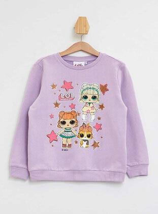 Purple - Girls` Sweatshirt - DeFacto