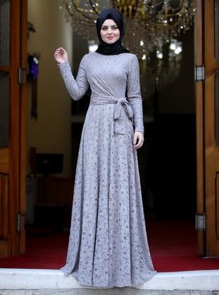 Gray - Unlined - Crew neck - Viscose - Muslim Evening Dress