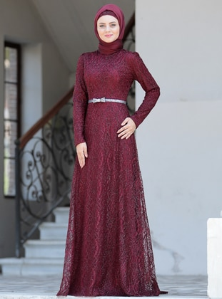 Maroon - Unlined - Crew neck - Viscose - Muslim Evening Dress
