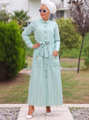 White - Mint - Stripe - Point Collar - Unlined - Cotton - Dress