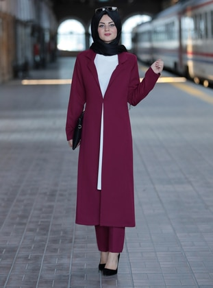 Fuchsia - Unlined - Crepe - Suit
