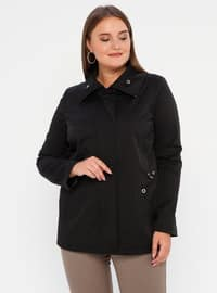 Black - Fully Lined - Polo neck - Polyurethane - Plus Size Trench coat