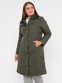 Khaki - Unlined -  - Plus Size Overcoat