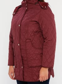 Plum - Fully Lined - Polo neck -  - Plus Size Coat