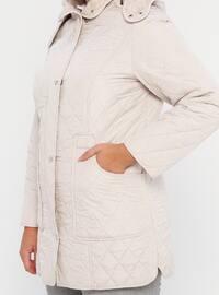 Stone - Fully Lined - Polo neck -  - Plus Size Coat