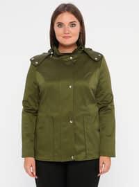 Khaki - Fully Lined - Polo neck - Polyurethane - Plus Size Trench coat