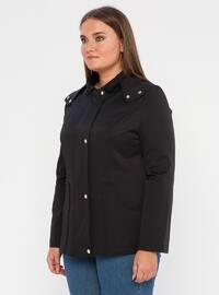 Black - Fully Lined - Polo neck - Polyurethane - Plus Size Trench coat