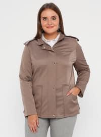 Mink - Fully Lined - Polo neck - Polyurethane - Plus Size Trench coat