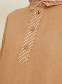 Mustard - Stripe - Point Collar -  - Viscose - Tunic