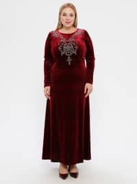 Maroon - Unlined - Crew neck -  - Plus Size Dress