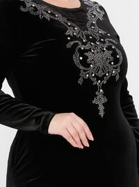 Black - Unlined - Crew neck -  - Plus Size Dress