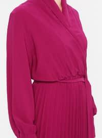 Fuchsia - V neck Collar - Fully Lined - Dress