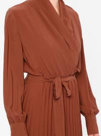 Brown - V neck Collar - Fully Lined - Dress