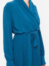 Petrol - V neck Collar - Fully Lined - Dress