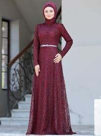 Maroon - Unlined - Crew neck - Viscose - Muslim Evening Dress