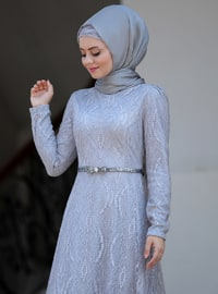 Gray - Unlined - Crew neck - Viscose - Muslim Evening Dress