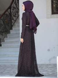 Plum - Unlined - Crew neck - Viscose - Muslim Evening Dress
