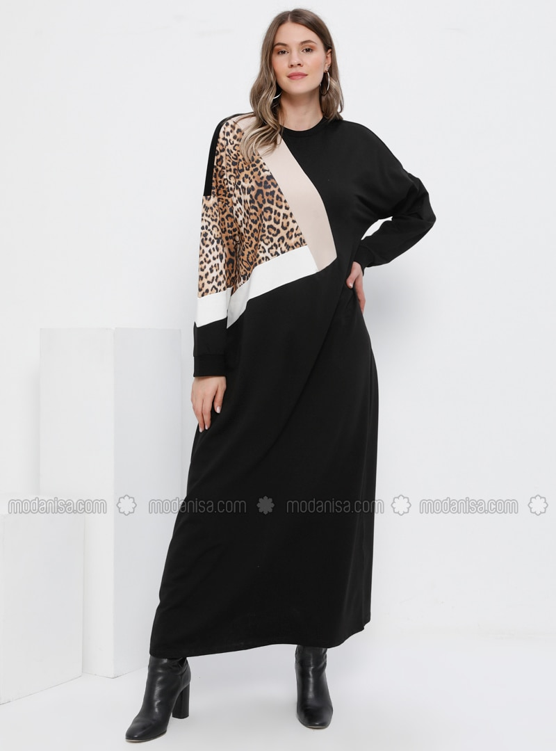 Black - Multi - Leopard - Unlined - Crew neck -  - Plus Size Dress