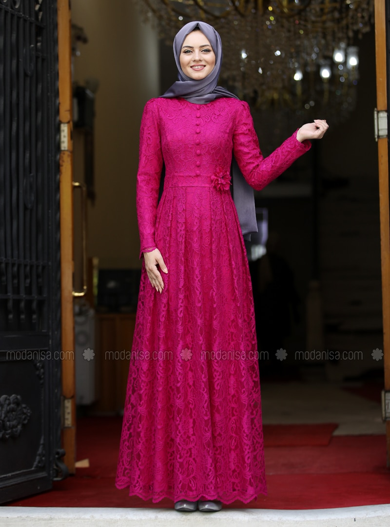 Fuchsia - Crew neck - Unlined - Viscose - Dress