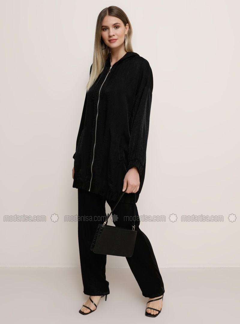 Black - Unlined - Viscose - Plus Size Suit