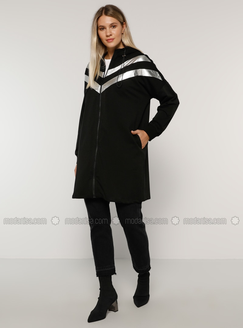 Silver tone - Black - Unlined -  - Plus Size Overcoat