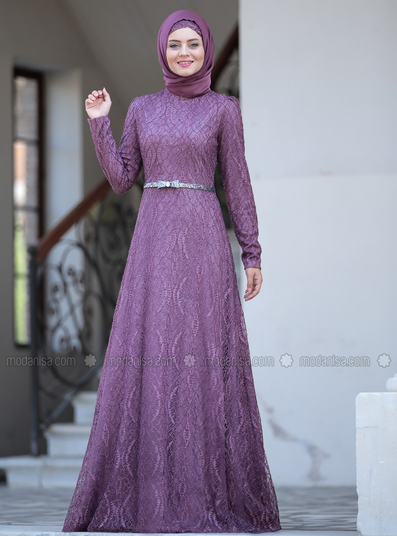Dusty Rose - Unlined - Crew neck - Viscose - Muslim Evening Dress