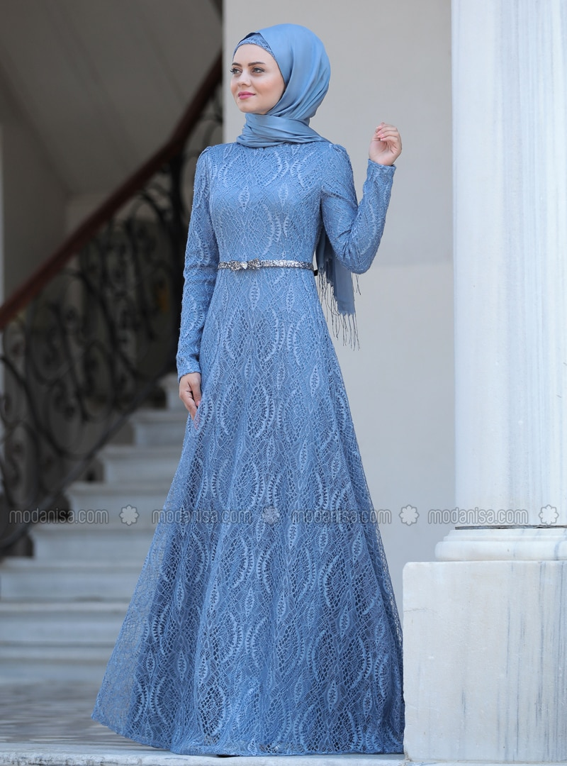 Indigo - Unlined - Crew neck - Viscose - Muslim Evening Dress