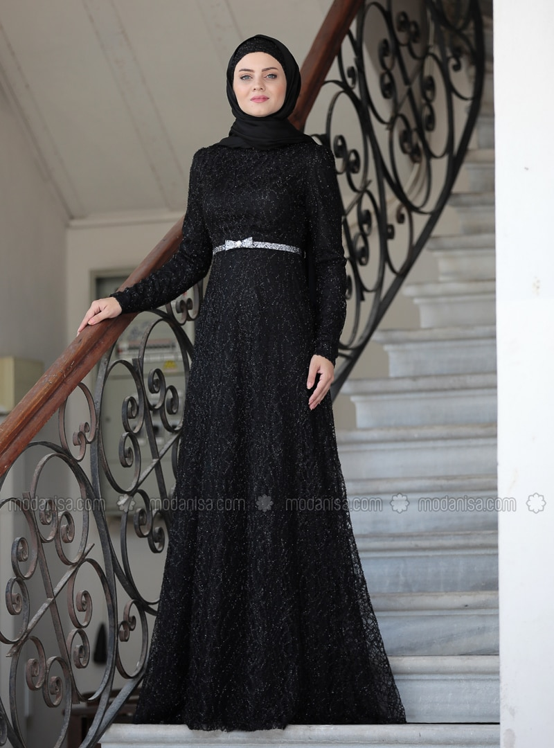 Black - Unlined - Crew neck - Viscose - Muslim Evening Dress