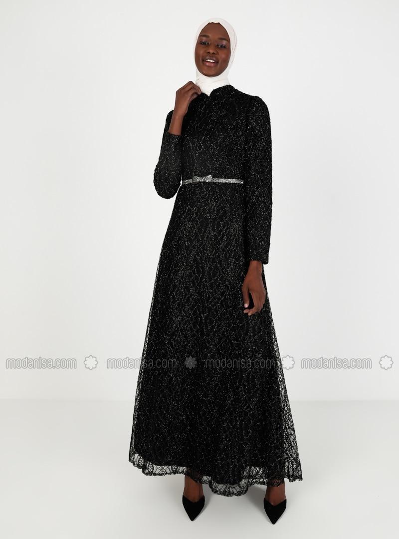 Black - Unlined - Crew neck - Viscose - Muslim Evening Dress