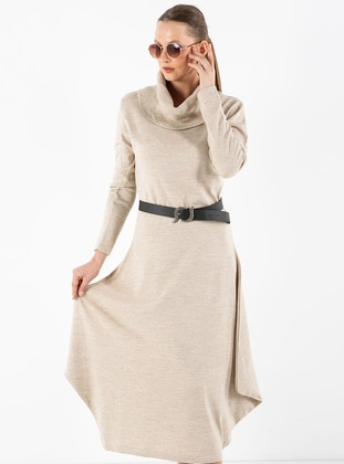 Beige - Shawl Collar - Unlined - Acrylic -  - Dress