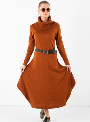 Terra Cotta - Shawl Collar - Unlined - Acrylic -  - Dress