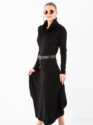 Black - Shawl Collar - Unlined - Acrylic -  - Dress
